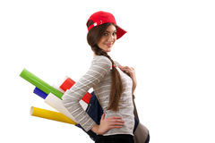 Girl with roll of paper Royalty Free Stock Images
