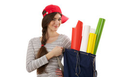 Girl with roll of paper Stock Photography