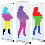 Girl on roll up in cmyk and rgb color Stock Images