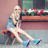 Girl roller skater Stock Photography
