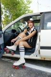 Girl with roller skates Stock Photos