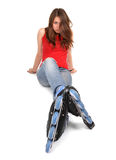 Girl on roller skates Stock Images