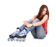 Girl on roller skates Stock Photo