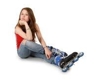 Girl on roller skates Royalty Free Stock Image