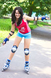 Girl on roller skates Royalty Free Stock Photo
