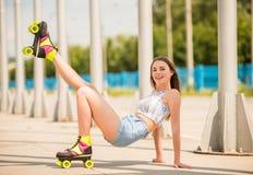 Girl on roller skates Royalty Free Stock Image