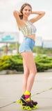 Girl on roller skates Royalty Free Stock Images