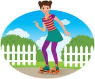 Girl on roller skates Royalty Free Stock Photography