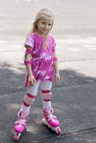 Girl in roller skates and protection Royalty Free Stock Photography