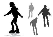 Girl on roller skates. The girl rolls on roller skates on a walk Stock Photos