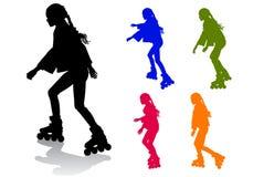 Girl on roller skates. The girl rolls on roller skates on a walk Stock Photo