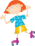 Girl on Roller Skates. A vector illustration of a smiling girl with red hair on roller skates Stock Photos