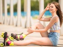 Girl on roller skates Stock Photo
