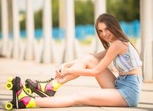 Girl on roller skates Stock Photography