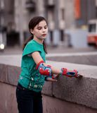 Girl roller skating Royalty Free Stock Image