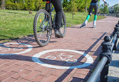 Girl roller-skating and bicycler on the bike path Stock Image
