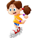 Girl roller skating cartoon Stock Image
