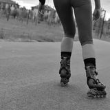 Girl with rollerblades stock photos