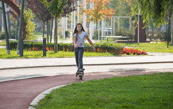 Girl on the rollerblades Royalty Free Stock Images