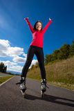 Girl on rollerblades Royalty Free Stock Image