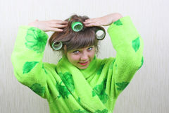Girl with rollers hair Royalty Free Stock Photos