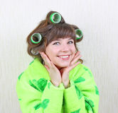 Girl with rollers hair Stock Image