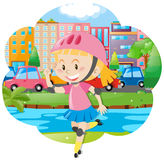 Girl with rollerskate and helmet. Illustration Stock Photo