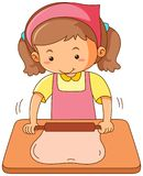 Girl rolling flour dough on wooden board Stock Photo