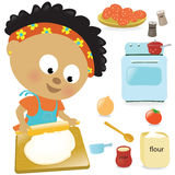 Girl rolling out dough. Illustration of a little girl rolling out dough for pizza Stock Photography