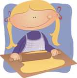 Girl rolling pastry Royalty Free Stock Images
