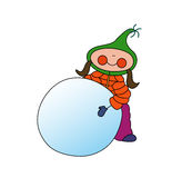 Girl rolling snowball. Cartoon girl dressed up in winter clothes rolling a snowball Royalty Free Stock Photos