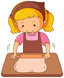 Girl with rollingpin baking dough. Illustration Royalty Free Stock Images