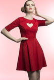 Girl with romantic red dress Royalty Free Stock Photos