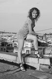 Girl on roof Royalty Free Stock Photo