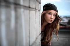 Girl on the Roof. Stock Photography