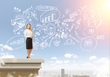 Girl on roof, business icons in the sky Royalty Free Stock Photography