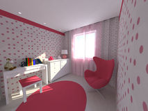Girl room. 3D interior design for a teenager room Royalty Free Stock Photo