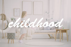 Girl in room through filter. Blonde girl in pastel scandinavian room seen through photo filter Royalty Free Stock Photos