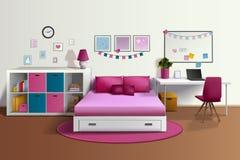 Girl Room Realistic Interior Stock Photo