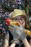 Girl with rooster. Little girl with hat holding a yellow banty rooster with gloves and almond blossoms Stock Image