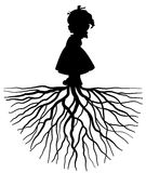 Girl with root. The silhouette of a girl with root Stock Image