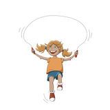 Girl With Rope. Cartoon Happy Smiling Girl With Jumping Rope Isolated On White Stock Photography