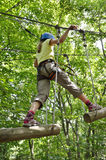 Girl at the rope course Royalty Free Stock Photography