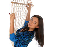 Girl in rope grid Royalty Free Stock Image