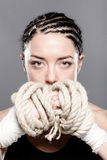 Girl with rope portrait Stock Image