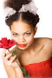 Girl & Rose Royalty Free Stock Photo