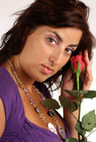 Girl with rose. Nice girl with red rose Royalty Free Stock Photo