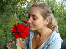 Girl with rose Stock Photos