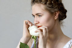 Girl and Rose Stock Photography