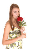 Girl with rose. A young beautiful woman with a red rose and in a dress standing smiling in the studio, for white background royalty free stock photo